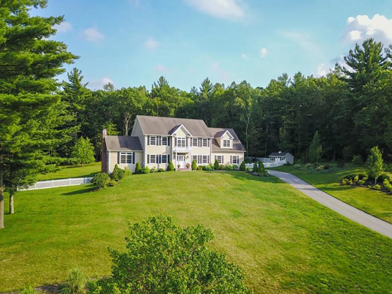 Aerial view of a home at Garrett Ridge Court in New Hartford, CT