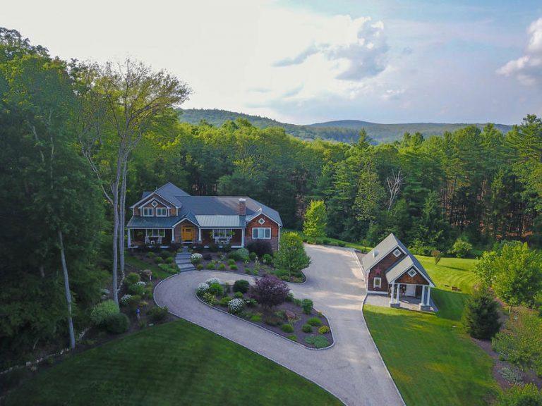 Aerial view of custom home at Garrett Ridge Court in New Hartford, CT