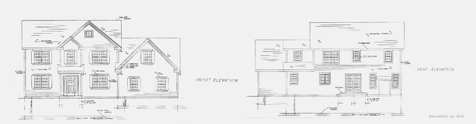 Custom home elevation drawing front and rear