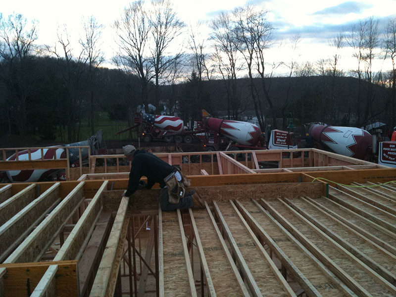 Framing floor of custom home
