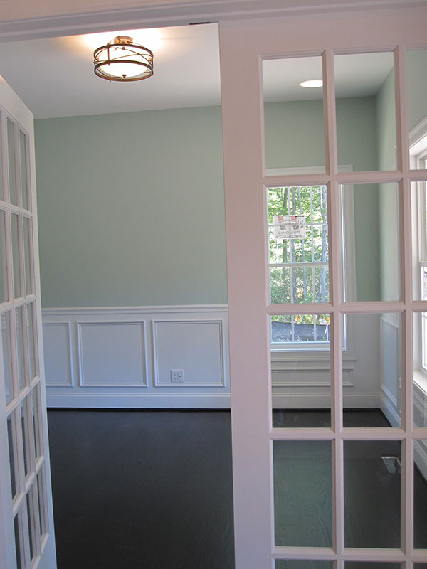 Double doors into green room