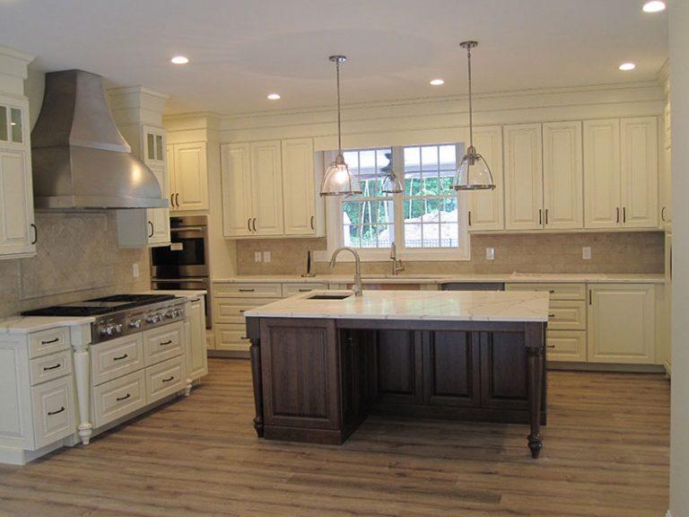 Kitchen with dark island