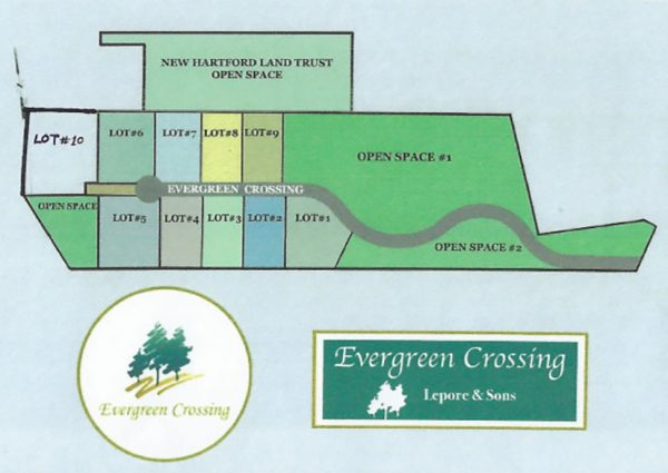 Map of lots at Evergreen Crossing in New Hartford, CT